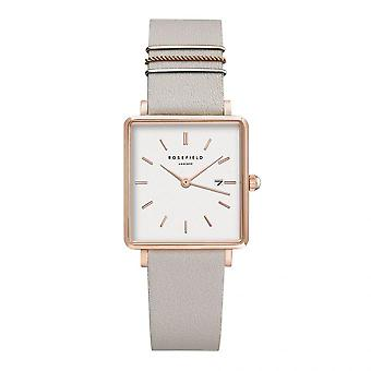 Rosefield QCGRG-Q028 watch - Bo tier m tal gold dor rose white dial with grey leather strap dator gold of women's rings