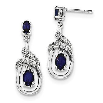 925 Sterling sølv syntetisk blå safir og cubic zirconia Dingle post øredobber