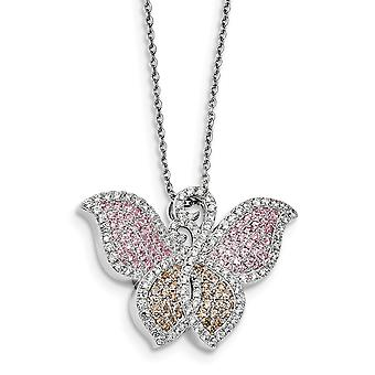925 Sterling Silver Pave Rhodium-plated Lobster Claw Closure and Cubic Zirconia Brilliant Embers Butterfly Necklace - 18