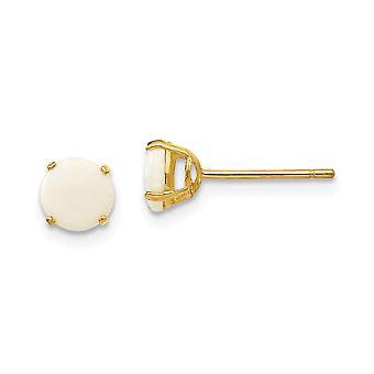 14k keltainen kulta kiillotettu pyöreä simuloitu opaali 5mm post korvakorut mittaa 5x5mm leveä koru lahjoja naisille