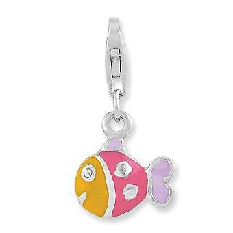 925 Sterling Silver Fancy Lobster Closure Rhodium plated 3 d Enameled Animal Sealife Fish With Lobster Clasp Charm Penda