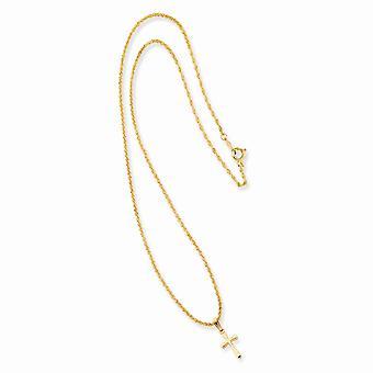 18in 14k Vergulde Solid Gift Boxed Spring Ring gepolijst terug Kleine Vlakte Afgeronde Religieuze Geloof Kruis ketting 18 In