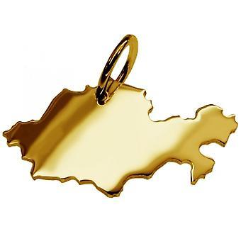 Pendentif de chaîne de carte en or jaune-or sous la forme de KASACHSTAN
