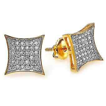 Dazzlingrock Collection 0.20 Carat (ctw) 14K White Diamond Kite Shape Mens Hip Hop Iced Stud Boucles d'oreilles 1/5 CT, Or Jaune