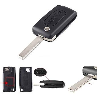 Flip folding key case shell 2 buttons CE0523 PEUGEOT HU83 blade