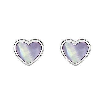 Dew Silver Dinky Lilac Mother Of Pearl Heart Stud Earrings 3062LMP028