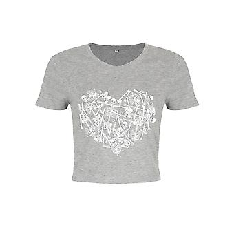 Unorthodox Collective Womens/Ladies Skeleton Heart Crop Top