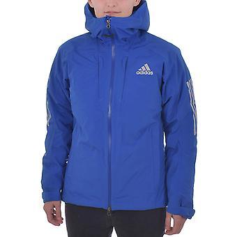 Adidas Performance AdiZero naisten pehmustettu vedenpitävä hupullinen talvi takki-sininen