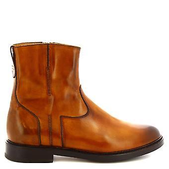 Leonardo Shoes Women's handmade ankle boots delavé sienna leather side zip