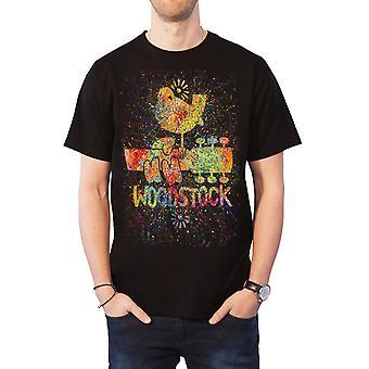Woodstock T Shirt Festival Poster Splatter Artist Logo Official Mens new Black