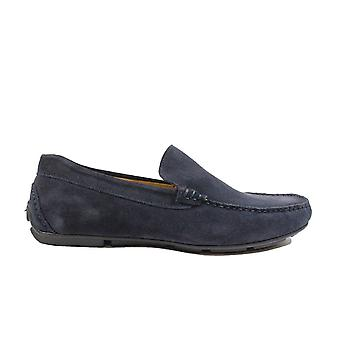 Steptronic Dustin Navy Suede Leather Mens Slip On Loafer Shoes