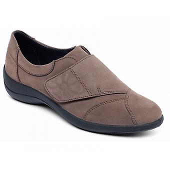 Padders Rose Ladies Leather Wide (e Fit) Shoes Taupe