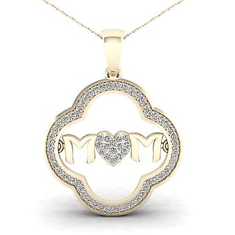 IGI Certified 10K Yellow Gold 0.2ct TDW Diamond MOM Heart Pendant Necklace