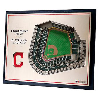 YouTheFan Wood Wall Deco Stadium Cleveland Indians 43x33cm