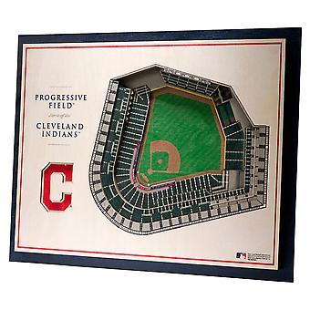 YouTheFan lemn Wall Deco Stadionul Cleveland indieni 43x33cm