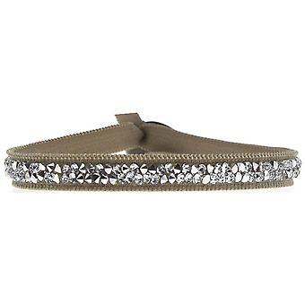 Bracelet interchangeable A24925 - fabric Beige woman Swarovski crystals Bracelet
