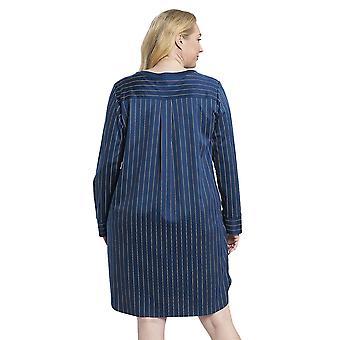 Rösch 1194524-16504 Women's Curve Denim Blue Striped Cotton Nightdress