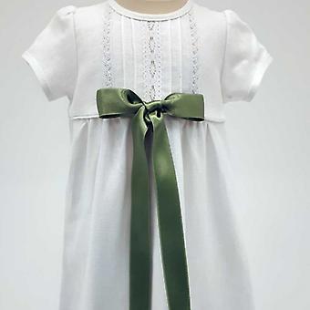 Dopklänning Grace Of Sweden, Kort ärm Med Ljus Grön Rosett,     Tr.v.k