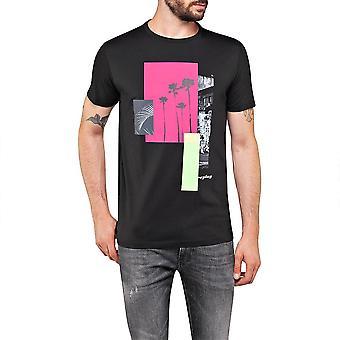 Replay Round Neck Printed Black T-shirt