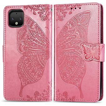 Für Google Pixel 4 XL Fall Schmetterling Liebe Brieftasche Schutzhülle rosa