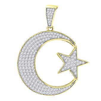 925 sterlinghopea keltainen sävy CZ cubic zirkonia simuloitu diamond tähti taivaallinen kuu miesten uskonnollinen riipus kaulakoru