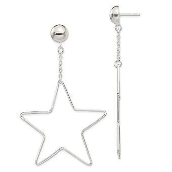 925 Sterling Silver Star Dangle Post Boucles d'oreilles Bijoux Bijoux pour les femmes - 5,6 Grammes