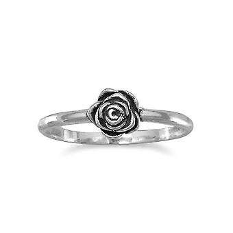 925 Sterling Silver Small Oxidized Rose Ring 1.7mm Wide Band With a 6mm Wide Oxidized Rose - Ring Size: 3 to 9