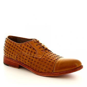 Leonardo Shoes Męskie's ręcznie sznurowane buty w opaleniznie ażurowej skórze cielęcej
