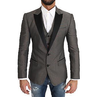Dolce & Gabbana Blazer Vest 2 Piece Gray Martini Pattern