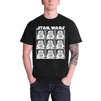 حرب النجوم تي قميص دارث فيدر تكرار شعار الرسمية الرجال الأسود