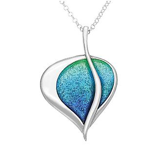 Sterling Silver Traditional Scottish Leah Aquamarine Enamel Hand Crafted Necklace Pendant - EP150