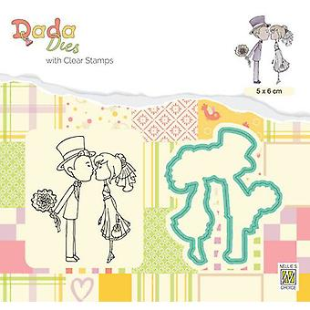 Nellie's Choice DADA Die & Clear stamp marriage kissing DDCS026 50x60mm (01-20)