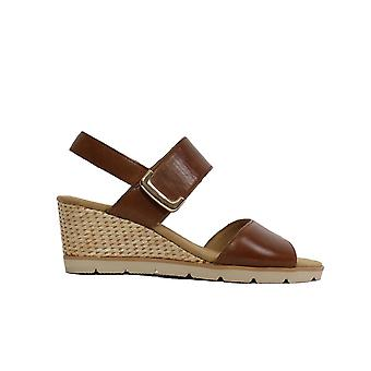 Gabor Porter 751-24 Tan Leather Womens Rip Tape Wedge Sandales