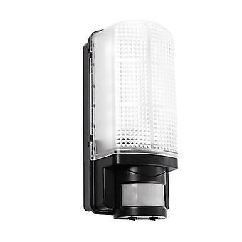 Saxby Lighting Motion Led Pir Integrated LED PIR 1 Light Outdoor Wall Light Frosted, Black IP44 73716