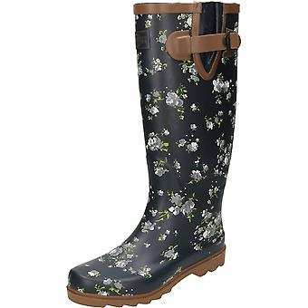 Northwest Territory Floral Print Navy Blue Rubber Wellington Boots
