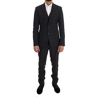 Dolce & Gabbana Gray Patterned Wool 3 Piece Slim Suit -- KOS1444976
