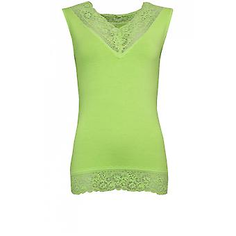 A Postcard from Brighton Lime Green Lace Detailed Top