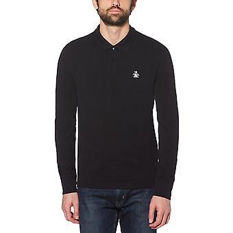 Original Penguin Long Sleeve Polo Shirt Black 37