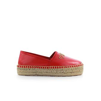 AMORE MOSCHINO RED LEATHER ESPADRILLES