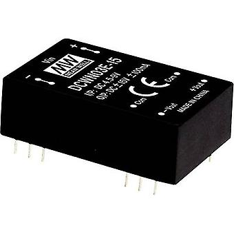 Mean Well DCWN03C-15 DC/DC converter (module) 100 mA 3 W No. of outputs: 2 x