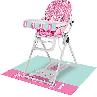 Pink 1st Birthday Bunny High Chair Kit - Flag Banner and Floor Mat