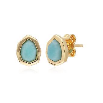 Irregular B Gem Blue Peru Amazonite Stud Earrings 271E021101925