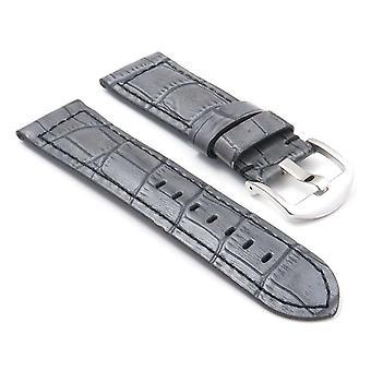 Strapsco dassari watch strap thich crocodile embossed padded leather