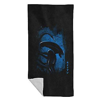 Alien Side Profile Blue Beach Towel