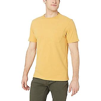 Goodthreads Men's Short-Sleeve Sueded Jersey Crewneck Pocket T-Shirt, Yellow, Large