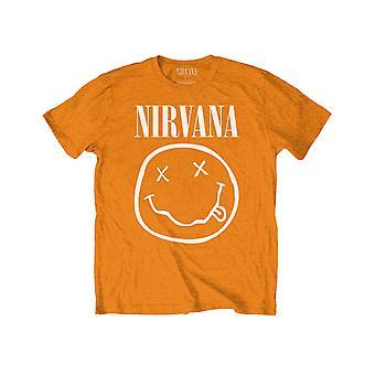 Nirvana Kids T Shirt White Smiley Band Logo new Official Orange (Ages 5-15yrs)