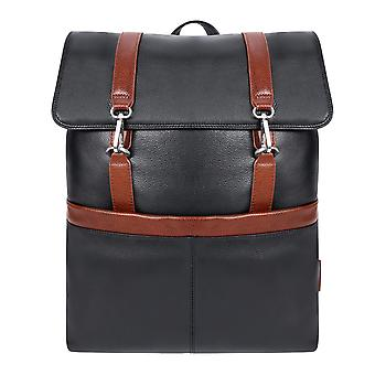"""18472, U Series, Element 17"""" Leather, Two-Tone, Flap-Over, Laptop & Tablet Backpack - Black"""