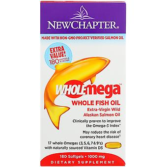 Nytt kapitel, Wholemega, Extra-Virgin Wild Alaskan Lax, Hel fiskolja, 1.000