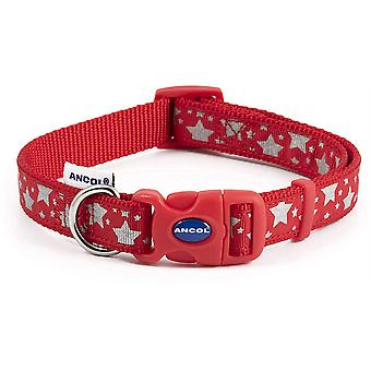 Ancol Reflective Stars Collar Red - Large