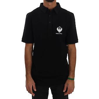Frankie Morello Black Cotton Stretch Polo T-Shirt TSH1362-4